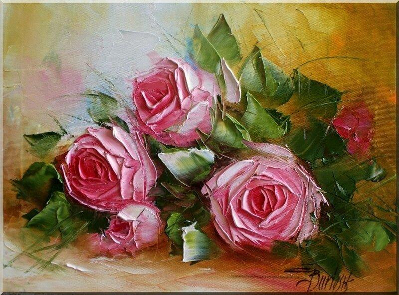 Цветы мастихином от польской