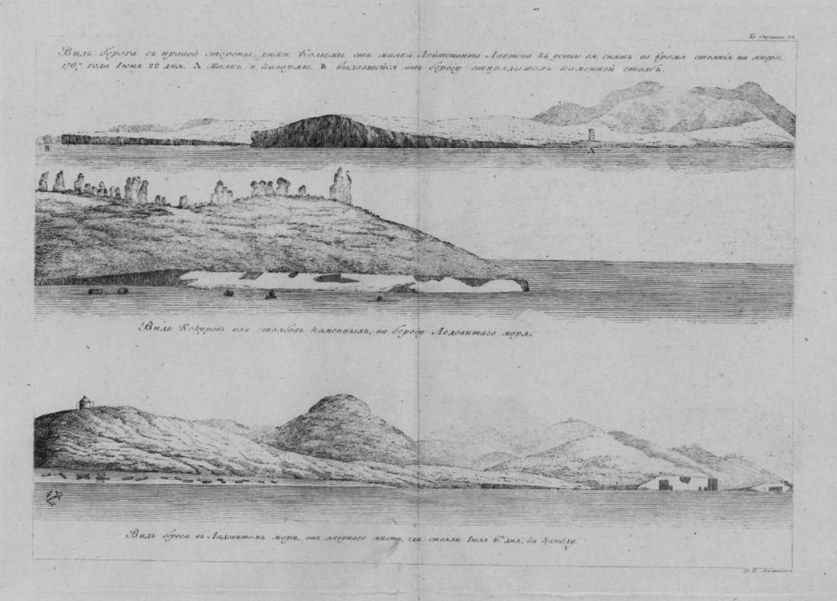 08. Вид берега с правой стороны реки Колымы от маяка лейтенанта Лаптева к устью ее снят во время стояния на якоре 1787 года июня 22 дня