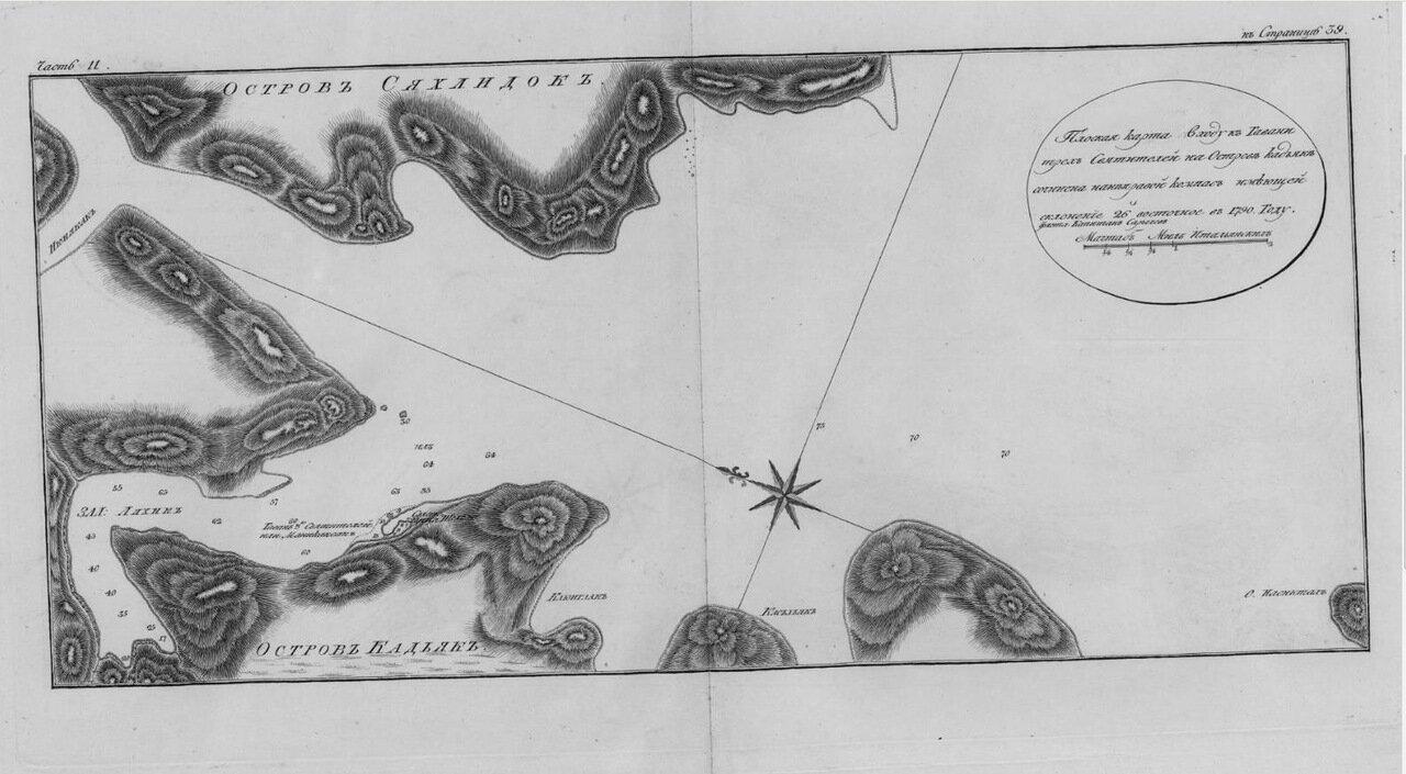 30. Плоская карта входу в гавани Трех Святителей на острове Кадьяк