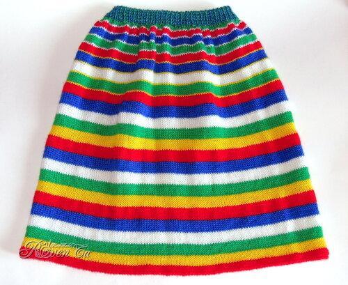 вязаная юбка, юбка для девочки, полосатая юбка, юбка спицами, утилизация пряжи, roventa-handmade