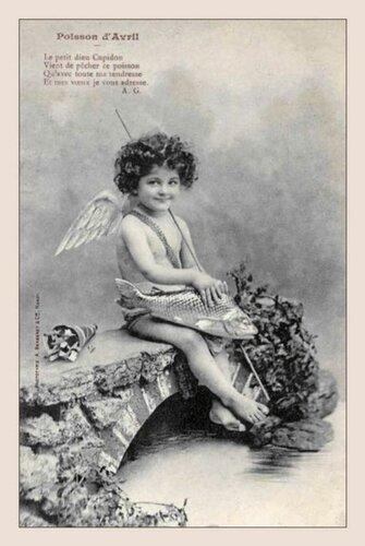 1 апреля. Амурчик с рыбой открытка поздравление рисунок фото картинка