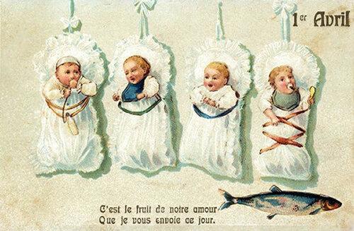 1 апреля. Амурчики и рыба открытка поздравление картинка