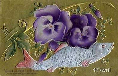 1 апреля. Анютины глазки и рыба открытка поздравление картинка