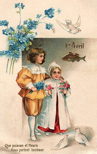 1 апреля. Вае с цветами открытка поздравление картинка