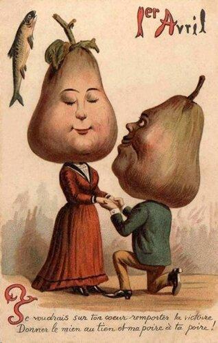 1 апреля. Груши открытка поздравление картинка