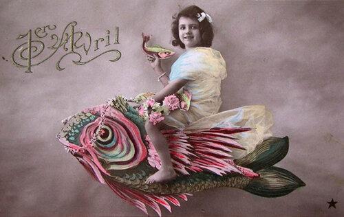 1 апреля. Девочка и рыба открытка поздравление картинка