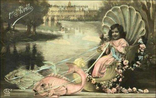 1 апреля. Девочка и рыбы открытка поздравление картинка