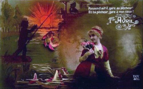 1 апреля. Девушка и рыбак открытка поздравление рисунок фото картинка
