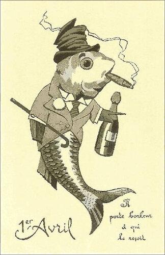 1 апреля. Рыба с сигарой открытка поздравление картинка