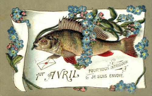 1 апреля. Рыба среди цветов открытка поздравление картинка