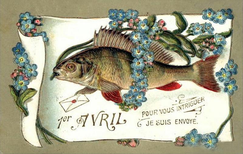 Вам открытка: 1 апреля. Рыба среди цветов фото картинка поздравление скачать