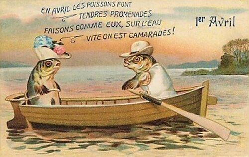 1 апреля. Рыбы в лодке открытка поздравление рисунок фото картинка