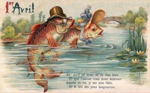 1 апреля. Рыбы в шляпах открытка поздравление картинка
