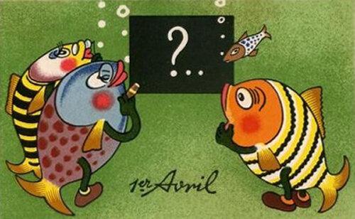 1 апреля. Рыбы решают задачку открытка поздравление картинка