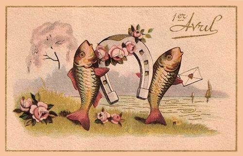 1 апреля. Рыбы с подковой на счастье открытка поздравление картинка