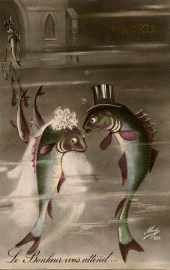 Вам открытка: 1 апреля. Свадьба рыб фото картинка поздравление скачать