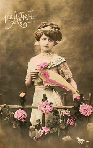 1 апреля.Дама с розовой рыбой открытка поздравление картинка