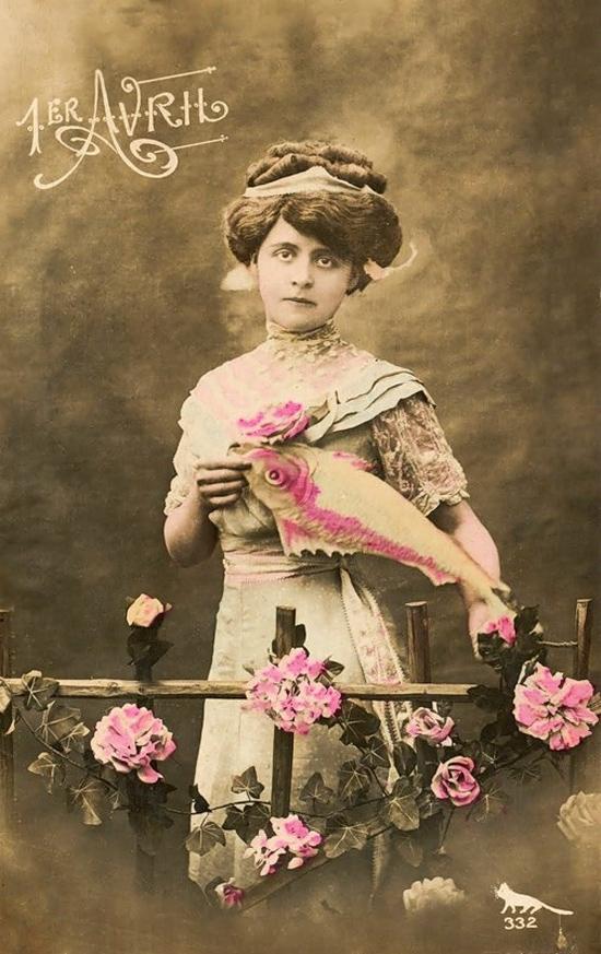 1 апреля.Дама с розовой рыбой открытки фото рисунки картинки поздравления