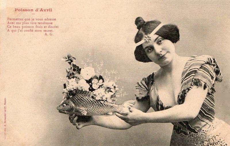 1 апреля.Дама с рыбкой открытки фото рисунки картинки поздравления