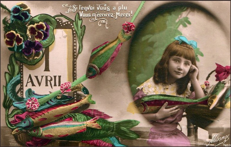 1 квітня.Дівчинка з різнобарвною рибкою листівка фото привітання малюнок картинка