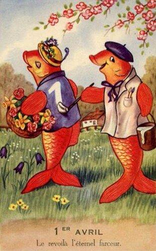 Рыбы на свидании. 1 апреля открытка поздравление рисунок фото картинка