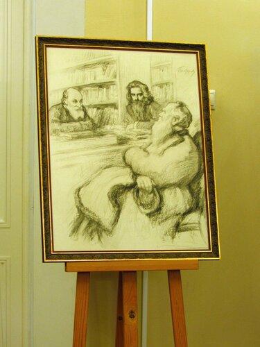 Л. Н. Толстой, В. С. Соловьев и Н. Ф. Федоров в Румянцевском музее