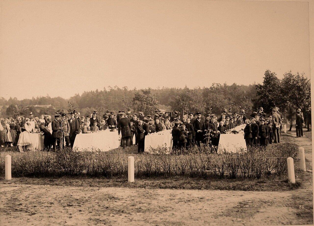 46. Дети - учащиеся местных училищ и гимназий - во время угощения, устроенного в честь приезда членов императорской фамилии. 1894