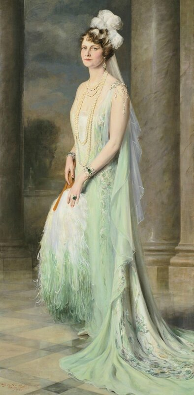 Marjorie Post wore this Callot Soeurs gown when presented to King George V and Queen Mary in June of 1929. Portrait by Giulio de Blaas..jpg