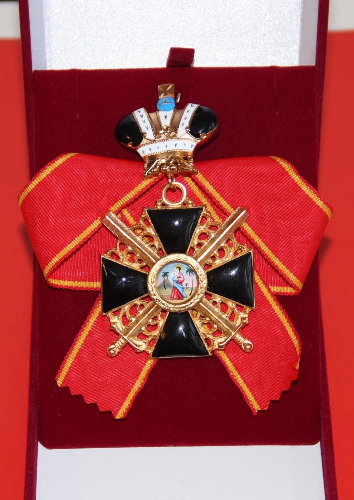 Крест орден Святой Анны 1 степени (с мечами,с короной,чёрной эмали)