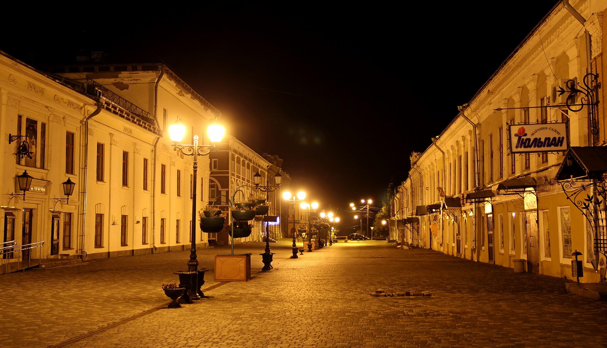 Фонари ночной город