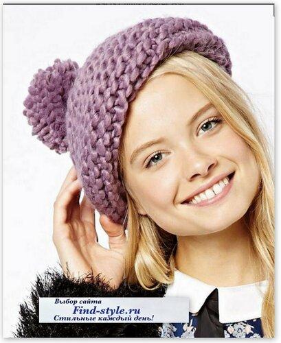 стильные женские шапки, берет с помпоном, стильная шапка спицами, ASOS Collection