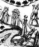 «Татарин Якыш, Бегишев внук, вытаскивает из реки тело Ермака», миниатюра из «Истории Сибирской» С. У. Ремезова.jpg