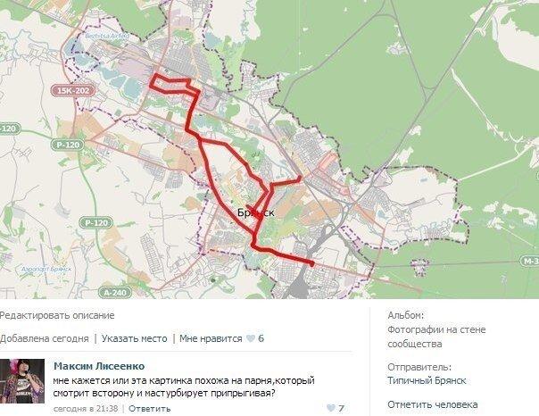 Карта маршрута эстафеты олимпийского огня в Брянске 15 января