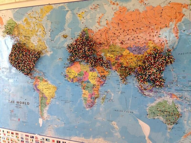 карта в ресторане Калифорнии