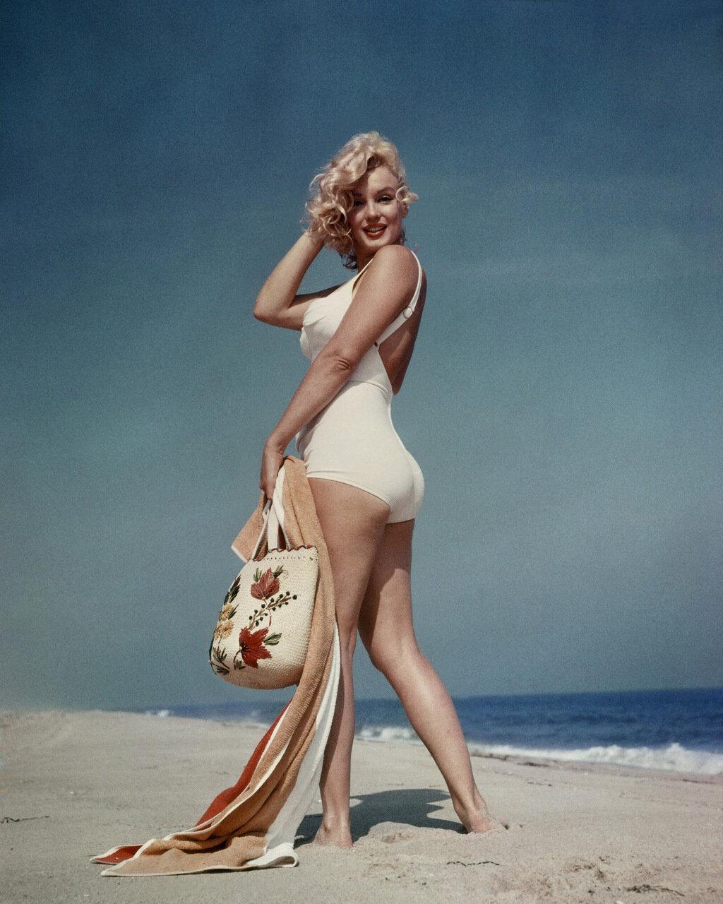 Marilyn Monroe on the beach.