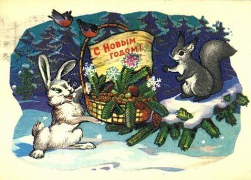 Новым годом! Зайка и птички поздравляют белочку