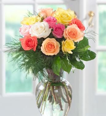 Букет різнокольорових троянд листівка фото привітання малюнок картинка