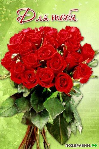 Открытка - букет роз для тебя открытка поздравление рисунок фото картинка