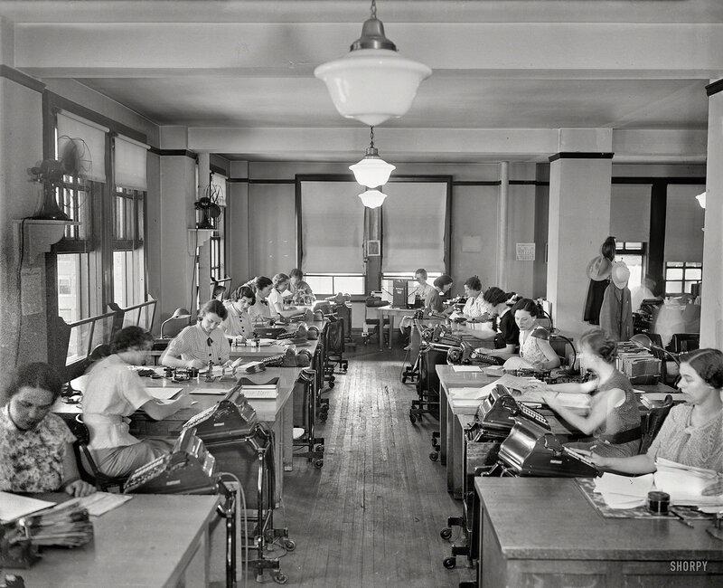 Washington, D.C., circa 1935. Office workers