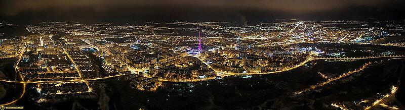 Ночная панорама Белгорода. Фото АЭРОКАМЕРА.РУ