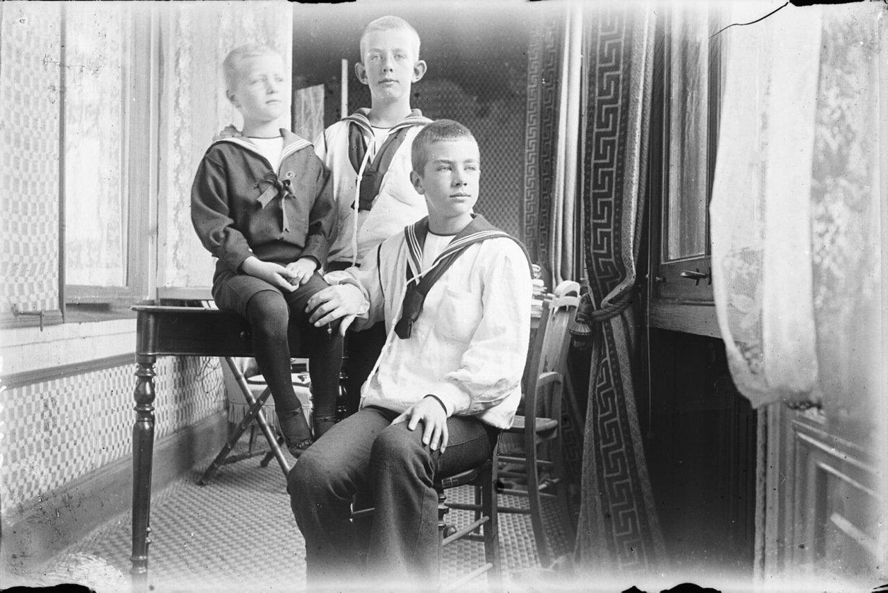 1894. Групповой портрет с принцами Эриком, Вильгельмом и Густавом (5,10 и 12 лет)