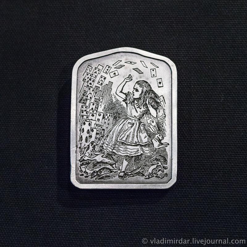 Винтажная пряжка «Алиса в Стране Чудес». «Алиса и Карты».