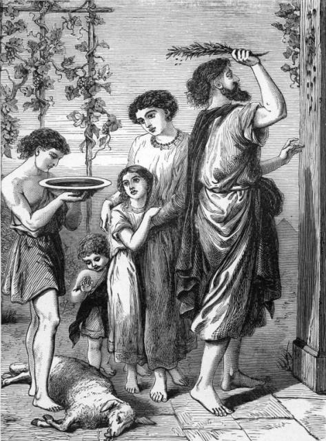Евреи намазывают двери кровью, чтобы «Ангел смерти» прошел мимо.
