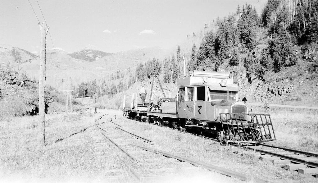 Rio Grande Southern narrow gauge motor car number 7, Goose in scrapping operation. Montelores, Colorado, October 10, 1952
