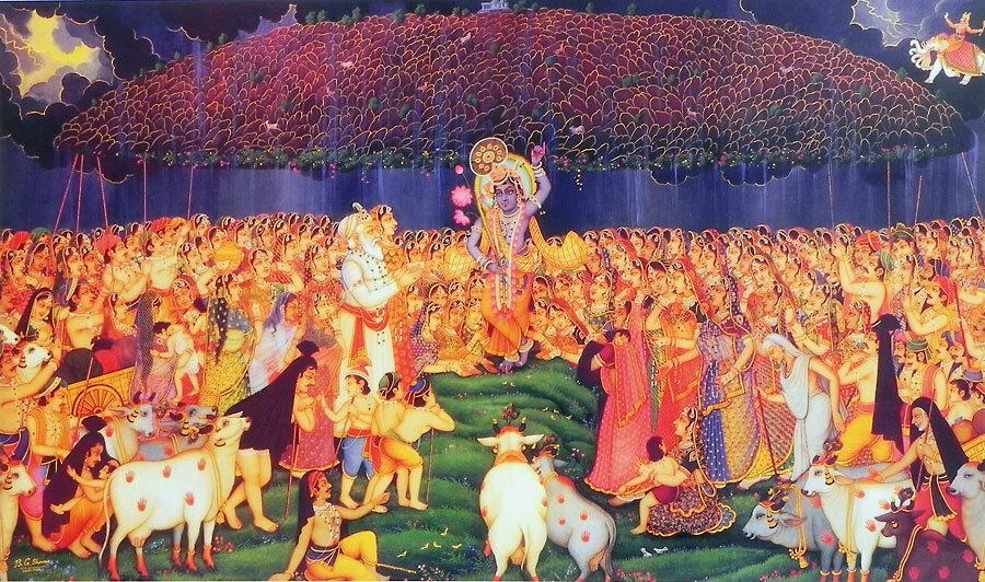 Кришна держит холм Говардхан мизинцем левой руки (krishna)