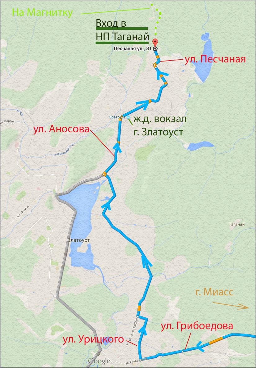 """2. Схема проезда по территории Златоуста """"Как добраться ко входу в национальный парк Таганай"""""""