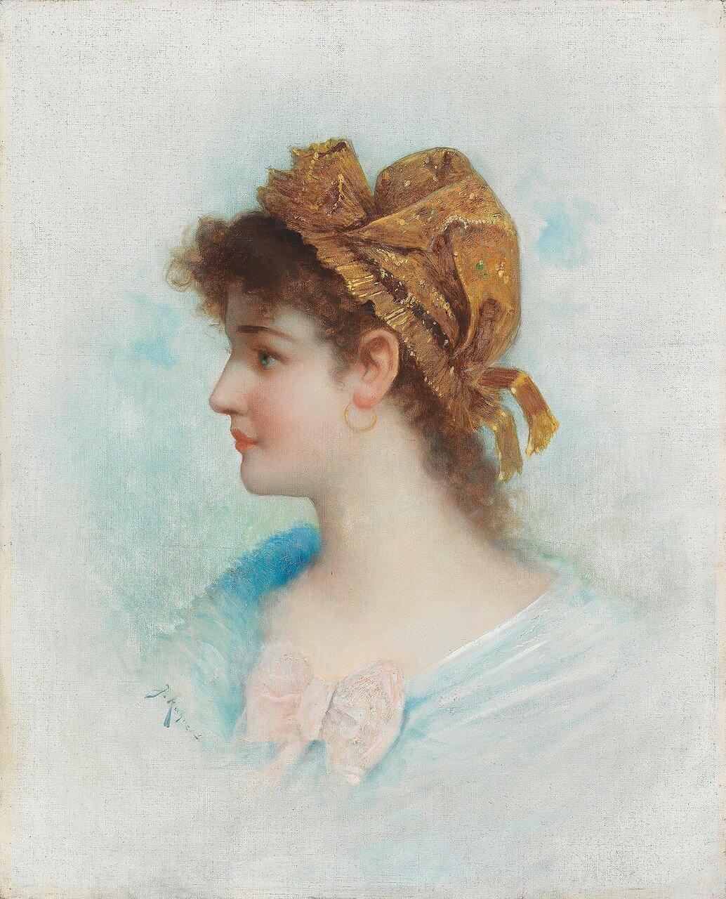 J. Kahrer, um 1900 Damenportrait mit Goldhäubchen, signiert J. Kahrer
