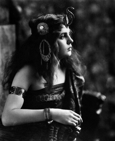 1910s 1920s Woman In Egyptian Costume Wearing Jeweled Arm Cuff and Ornate Head Piece