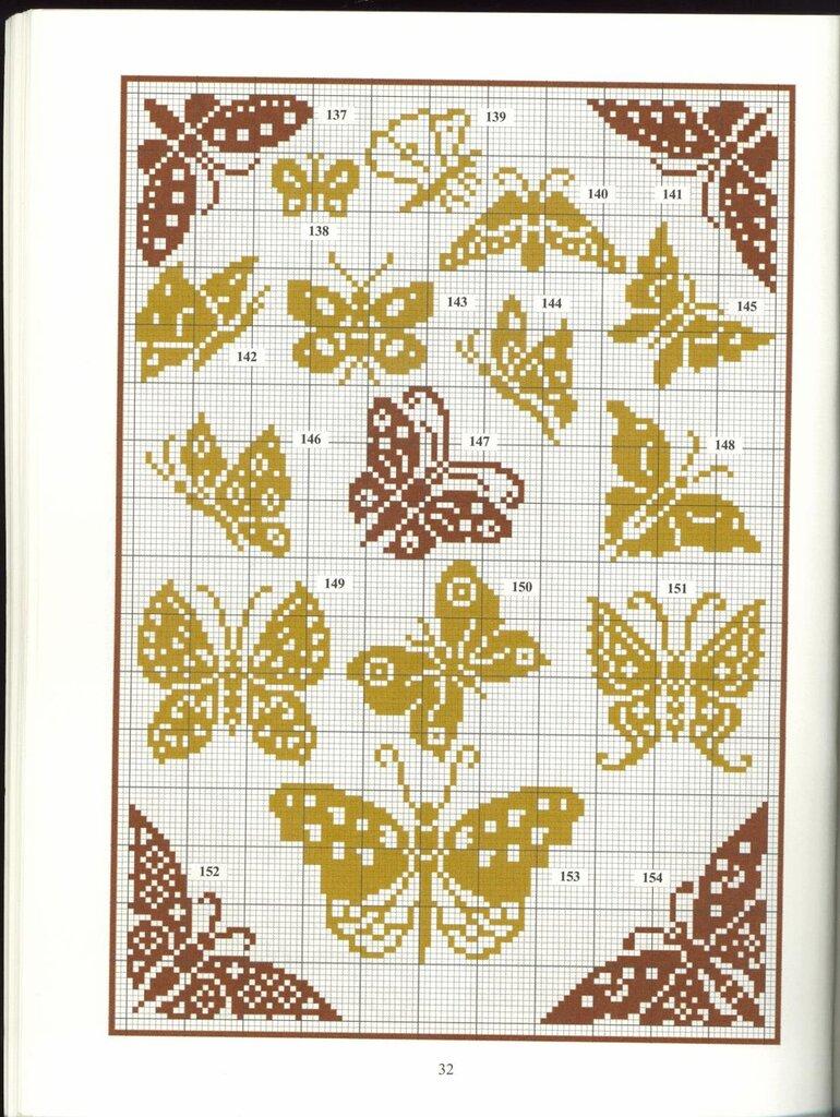 Рисунок бабочек схема спицами