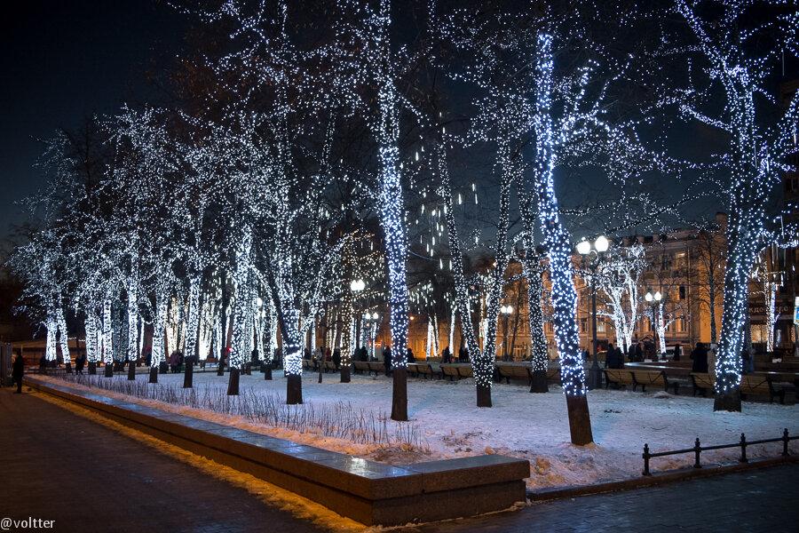 Тверской бульвар, подсветка, Москва